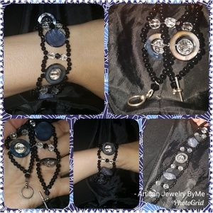 Artisan MOP AbaloneCrystalOnyx,Rhinestone Bracelet
